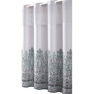 Hookless® Shower Curtain Damask Border Print Blue/grey