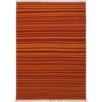 ecarpetgallery Hand-Woven Izmir Kilim Orange, Red Wool Kilim (5'8 x 7'9)
