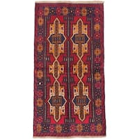 eCarpetGallery Brown and Red Wool Hand-Knotted Bahor Rug (3'4 x 6'2)