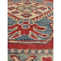 eCarpetGallery Hand-Knotted Finest Gazni Multicolor Geometric Wool/ Cotton Rug (4'10 x 7'0)
