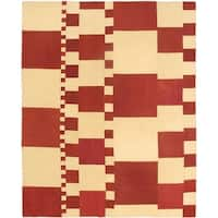 eCarpetGallery Handwoven Cream/Red Wool Kilim Rug - 6'7 x 8'2