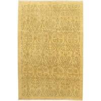 eCarpetGallery Chobi Hand-knotted Beige Wool Rug (5'11 x 8'11)