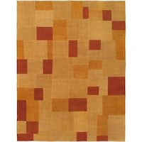 eCarpetGallery Abstract Beige Wool Hand-woven Rug (4'11 x 6'4)