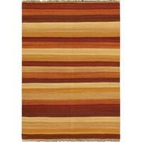 Ecarpetgallery Orange Wool Reversible Flatweave Rug