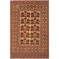 ecarpetgallery Handmade Ghafkazi Brown and Yellow Wool Sumak Rug