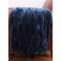50x60 Josephine Basketweave Faux Fur Decorative Throw