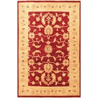 eCarpetGallery Chobi Finest Red/Yellow Hand-knotted Wool Rug (4'1 x 6'4)