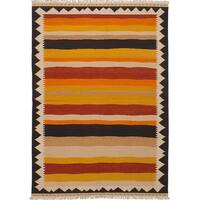 ecarpetgallery Hand-Woven Ankara Kilim Orange, Red Wool Kilim (6'11 x 9'9)