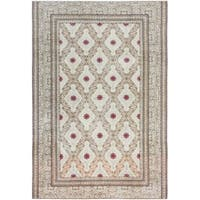 ecarpetgallery Hand Knotted Persian Yazd Beige Wool Rug - 7'4 x 10'9