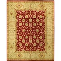 Ecarpetgallery Hand-knotted Chobi Finest Beige and Red Wool Rug (8' x 10'3)