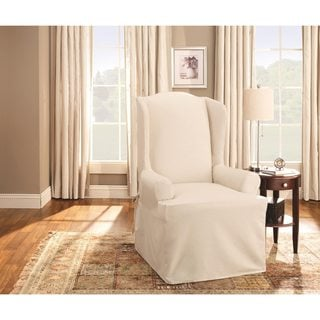 Exceptional Sure Fit Neutral Cotton Duck Wing Chair Slipcover