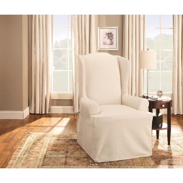 Prime Shop Sure Fit Cotton Duck Wing Chair Slipcover Free Gmtry Best Dining Table And Chair Ideas Images Gmtryco