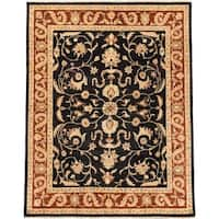 Ecarpetgallery Hand-knotted Chobi Finest Beige and Black Wool Rug (7'10 x 10'2)