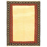 Ecarpetgallery Anatolian Cream/Black/Copper/Gold Wool Hand-woven Kilim Rug