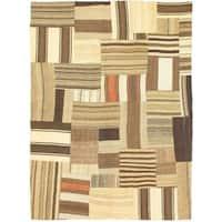 eCarpetGallery Bohemian Beige/Brown Wool Handmade Kilim Rug