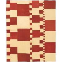 Ecarpetgallery Bohemian Red/Cream Wool Hand-woven Kilim Rug (6' x 8')