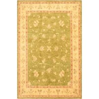 Ecarpetgallery Hand-knotted Chobi Finest Beige and Green Wool Rug - 6'8 x 10'3