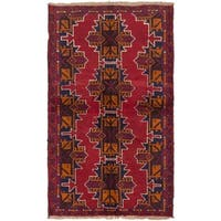 ecarpetgallery Hand-Knotted Bahor Blue Red Wool Rug (3'8 x 6'2)