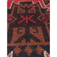 eCarpetGallery Red Wool Hand-knotted Bahor Rug (3'7 x 6'1)