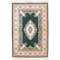 Ecarpetgallery Hand-knotted Royal Kashan Beige and Green Wool Rug (6' x 9')