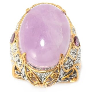 Michael Valitutti Palladium Silver Kunzite & Tourmaline Cocktail Ring