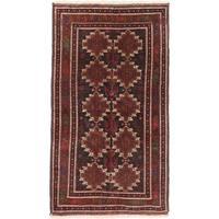 Ecarpetgallery Finest Rizbaft Black, Brown Wool Geometric Rug Rectangular Rug - 3'10 x 6'10