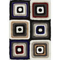 eCarpetGallery Eternity Black/Cream Cotton/Wool Bold Handmade Rug