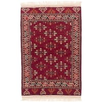 Ecarpetgallery Hand-knotted Shiravan Bokhara Red Wool Rug (3'10 x 5'11)