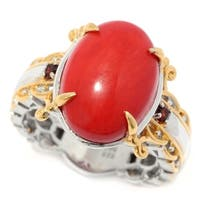 Michael Valitutti Palladium Silver Mini Oval Cabochon Red Coral & Garnet Cocktail Ring