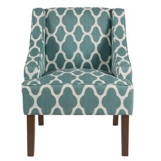 HomePop Classic Swoop Arm Chair - Teal Geometric