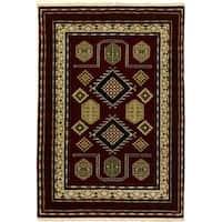 ecarpetgallery Royal Kazak Beige/ Red Wool Rug