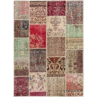 ecarpetgallery Sunwash Patch Beige, Red Wool Rug