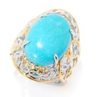 Michael Valitutti Palladium Silver Kingman Turquoise & Citrine Ring