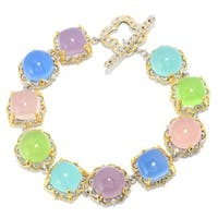 Michael Valitutti Palladium Silver Pastel Aqua, Pink,Blue, and Lime Coloured Chalcedony Alternating Link Toggle Bracelet