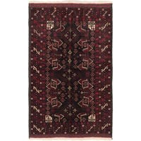 Ecarpetgallery Finest Rizbaft Black, Dark Red Wool Geometric Rug Rectangular Rug - 4'4 x 6'11
