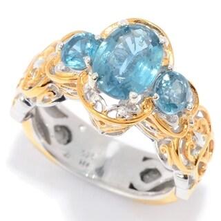 Michael Valitutti Palladium Silver Teal Kyanite 3-Stone Scalloped Edge Ring