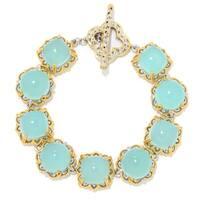 Michael Valitutti Palladium Silver Pastel Aqua Blue Chalcedony Alternating Link Toggle Bracelet