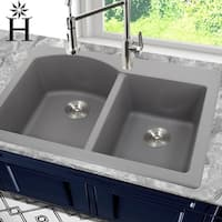 Highpoint Collection 60/40 Topmount Granite Composite Grey Sink