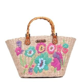 Nicole Lee Natayla Floral Straw Small Bag