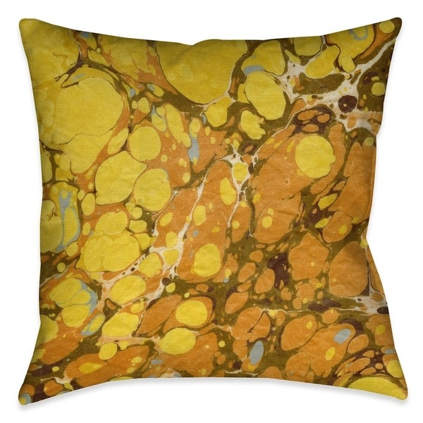 Laural Home Shades of Gold Marble Outdoor Decorative Pillow