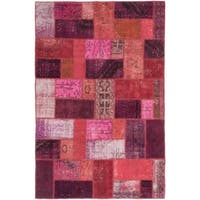 ecarpetgallery Color Transition Patch Pink/ Red Wool Rug