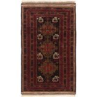 Ecarpetgallery Finest Rizbaft Black Red Wool Geometric Rug - 4' x 6'9
