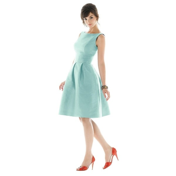 Alfred Sung Dupioni Bateau Neck and Scoop Back Cocktail Length Dress