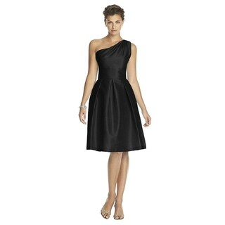 Alfred Sung Dupioni Inverted Pleats One-shoulder Cocktail Length Dress