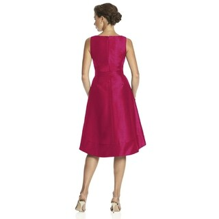 Alfred Sung Dupioni V-neck Sleeveless Cocktail Length Dress