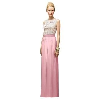 Lela Rose Lace Matching Belt Sleeveless Full Length Dress