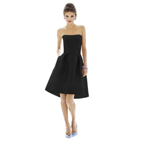 Alfred Sung Dupioni Matching Belt Strapless Cocktail Length Dress