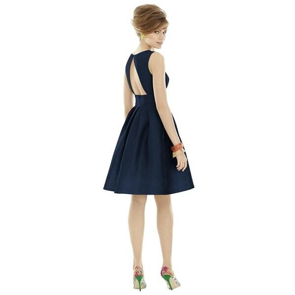 Alfred Sung Dupioni Sleeveless Cocktail Length Dress