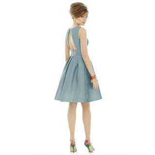 Alfred Sung Dupioni Sleeveless Cocktail Length Dress