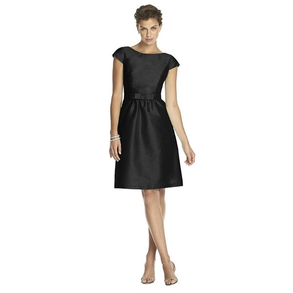 Alfred Sung Peau de Soie Bateau Neck Cocktail Length Dress with Bow